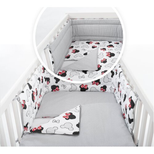 (COT 120X60cm(mattress size), 3psc Set( without duvet and pillow)) COT/COT BED Baby Bedding Set - MINNIE/GREY PATTERN