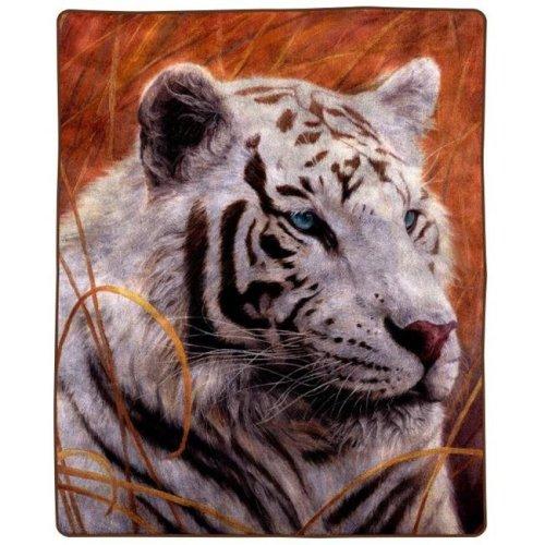 Lavish Home 66-B-TIGER 8 lbs Throw Blanket - White Tiger