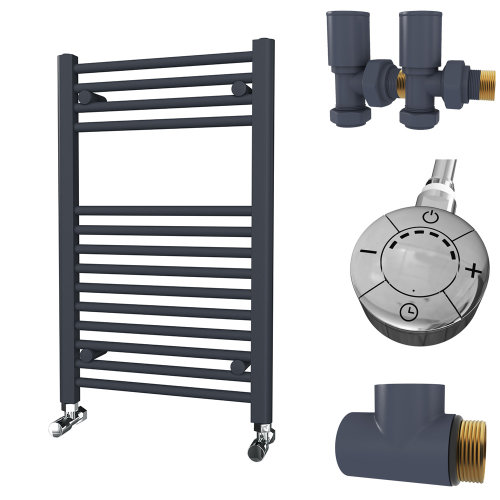 HB Essentials Zena Anthracite Straight Ladder Heated Towel Rail 800mm x 500mm Dual Fuel - Thermostatic