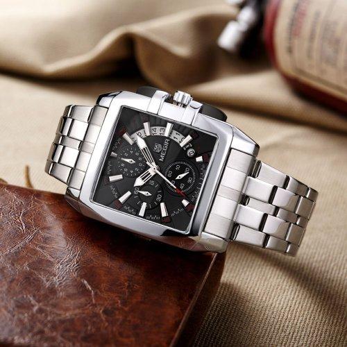 MEGIR Men's Stainless Steel Business Quartz Wateproof Luminous Chronograph Miitary Wristwatch