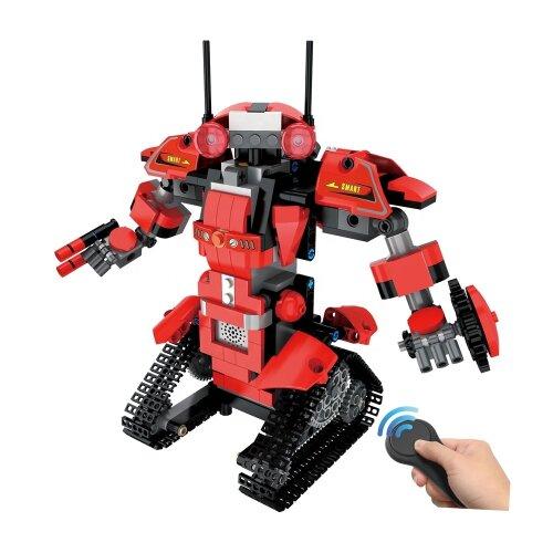 (Red) Building Block Set Robot Model Remote Control Bricks Assembly Construction Electronic DIY STEM Toy