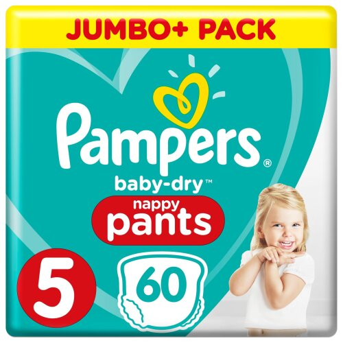 Pampers Baby-Dry Nappy Pants Size 5, 60 Nappy Pants