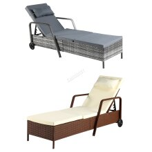 BIRCHTREE Rattan Day Chair Recliner Sun Bed Lounger Wicker Garden Terrace SRL01