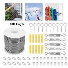 56x Heavy Duty Stainless Steel Wire Rope Cable Hooks Hanging Kit 30M