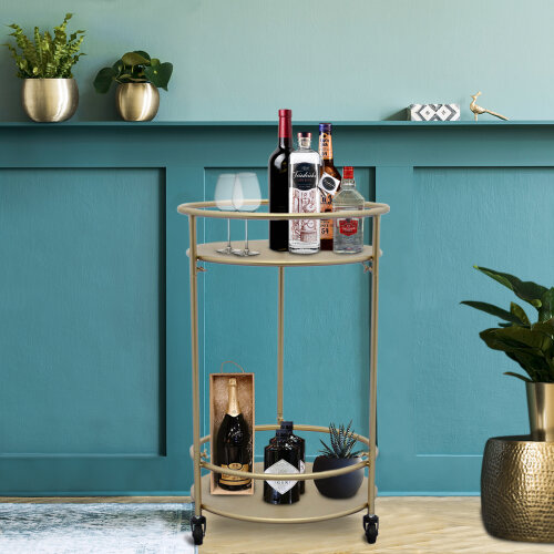 (Gold Drinks Trolley Bar Cart - Small) Drinks Trolley Bar Cart Art Deco 30s Vintage Side-table