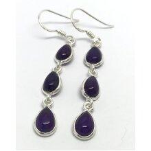 Real amethyst drop earrings, solid Sterling silver, pear, multistone.
