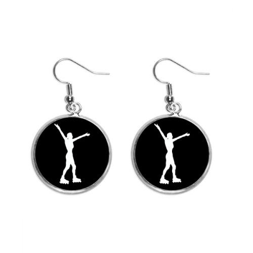 Roller Skating Sport Black Silhouette Ear Dangle Silver Drop Earring Jewelry Woman