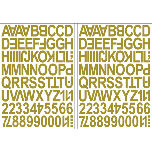 (Gold) Alphabet Letters & Numbers Stickers Label Peel Off Sticky 2.5cm High Mixed