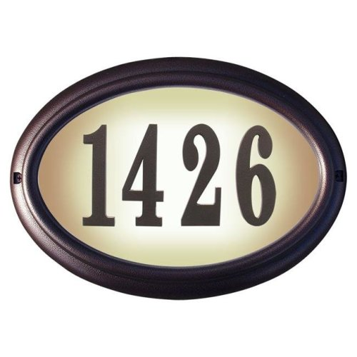 QualArc LTO-1302-AC 15 in. Edgewood Oval Lighted Address Plaque in Antique Copper Frame Color