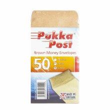Pukka Post Brown Money Envelopes 50 Brown Envelopes