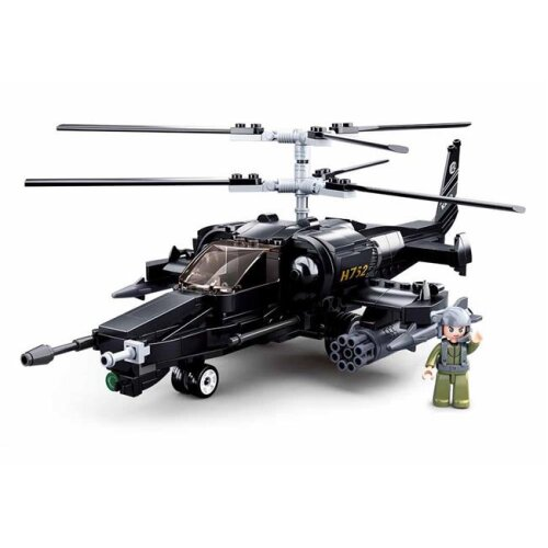 Texas Toy Distribution 752 Model Bricks KA-50 Black Shark Helicopter Building Brick Kit, 333 Piece