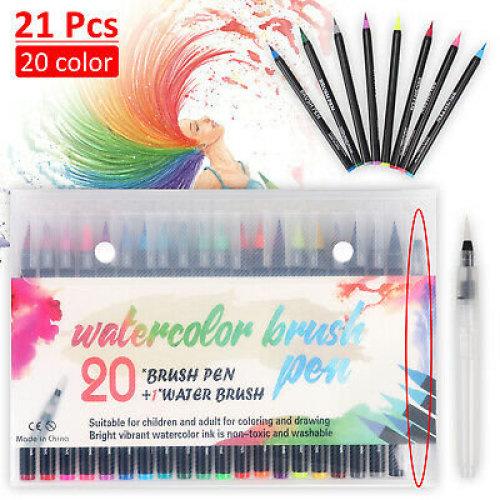 20Colors Watercolor Drawing Painting Brush Artist Sketch Manga Marker Pen Set UK