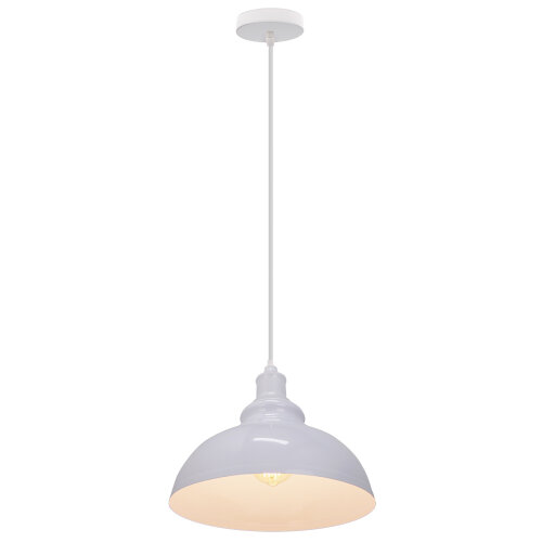(All White) Pendant Light Lampshade Metal Hanging Light