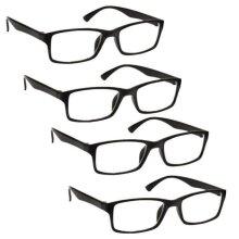 4 Pack Reading Glasses Mens Womens Lightweight Designer Style UV Reader 1.0-3.5