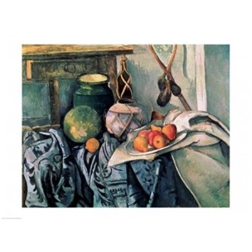 Still Life with Pitcher & Aubergines Poster Print by Paul Cezanne - 36 x 24 in. - Large