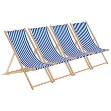 Wooden Deck Chair Folding Garden Beach Seaside Deckchair Blue White Stripe x4