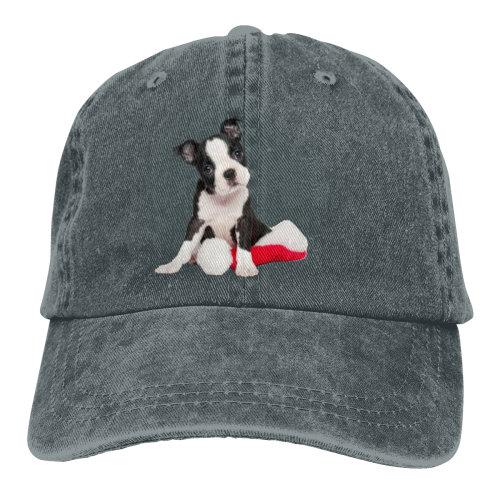 Boston Terrier Santa Hat Denim Baseball Caps