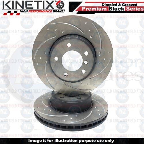 FOR BMW 5 6 SERIES E60 E61 E63 E64 FRONT DIMPLED & GROOVED BRAKE DISC PAIR 324mm