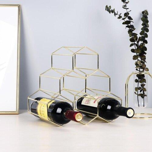 Simple Geometric Wine Rack Household Bottle Cabinet Stand Holder Restaurant Bar Grape Display Shelf