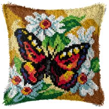 """Latch Hook Complete Cushion Cover Kit""""Butterfly on Daisies""""43x43cm"""