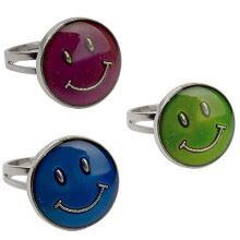 Rimobul Authentic Adjustable Mood Ring,Smiley Face - Pack of 3