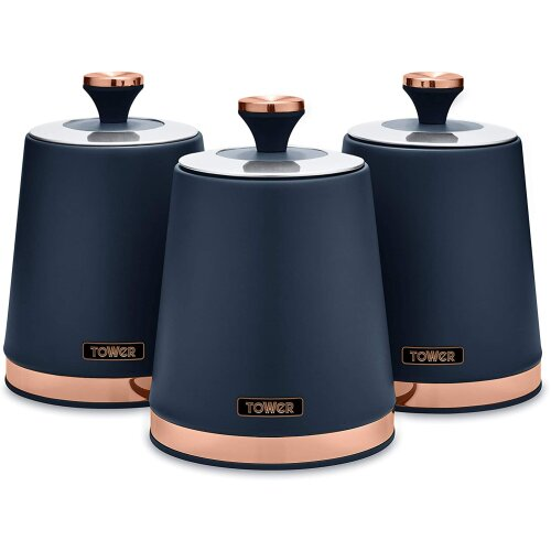 3pc Tower Cavaletto Storage Canisters Set - Midnight Blue