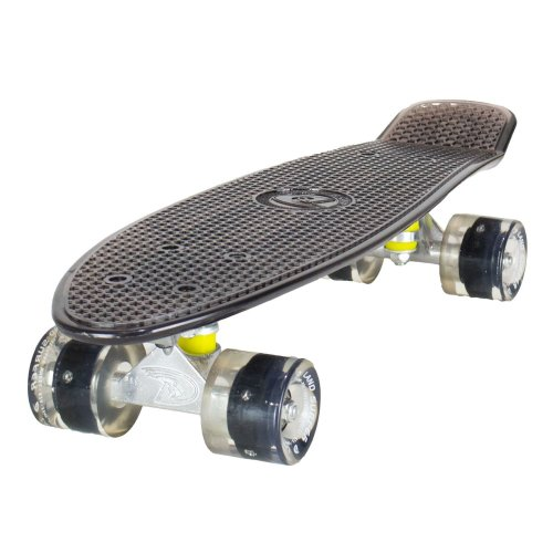 "Land Surfer Black Cruiser 22"" Skateboard With Clear LED Wheels"