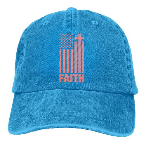(Blue) Distressed Peach USA Flag Denim Baseball Caps