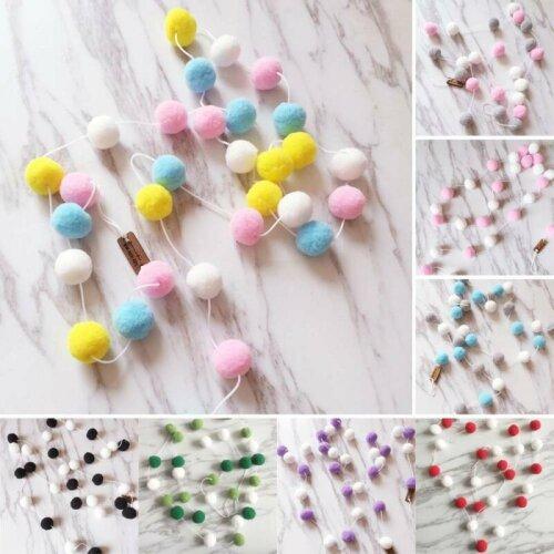 2M Pom-Pom Fluffy Balls Felt Decoration Kids Party Flags Garland String Room