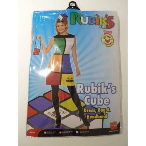 Ladies Rubik/'s Cube Costume Rubiks 80s 1980 Rubix Fancy Dress Headband Bag