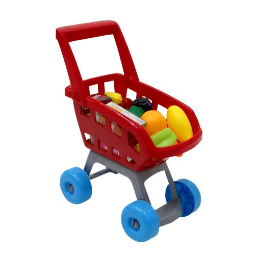 Oypla Red Childrens Kids Role Play Supermarket Shopping Trolley Set