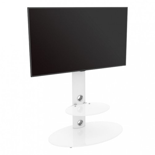 """King Satin White Cantilever TV Stand with Mounting Brackets 