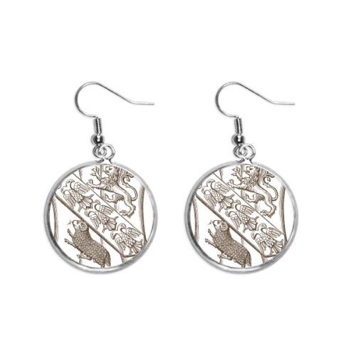 Black White Baroque Sheep Illustration Pattern Ear Dangle Silver Drop Earring Jewelry Woman