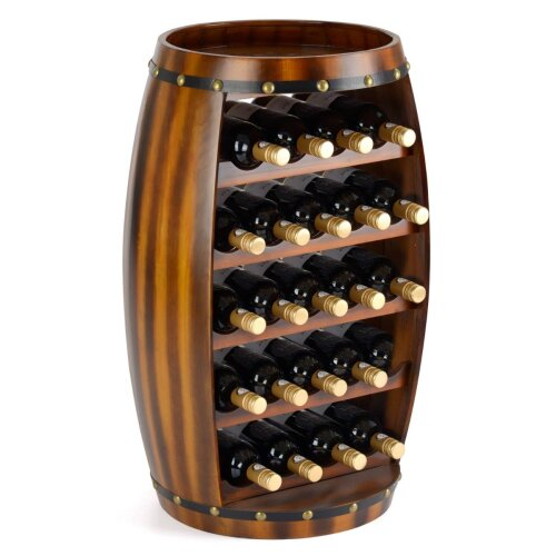 Barrel Wine Rack Wooden Free Standing 23 Bottle Storage Holder H78.5cm Christow