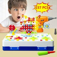 Drill Design Puzzle Creative Toys - Electric Drill Screwdriver Play Tool Building 2D 3D Models Blocks Assembly DIY STEM Educational Construction Set