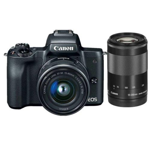 CANON EOS M50 Black +EF-M 15-45mm IS STM+EF-M 55-200mm F4.5-6.3 IS STM