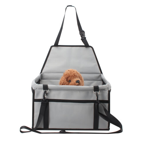 (Grey) Folding Car Seat Side Bag for Pets