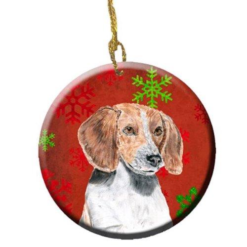 English Foxhound Red Snowflakes Holiday Ceramic Ornament, 2.81 Dia