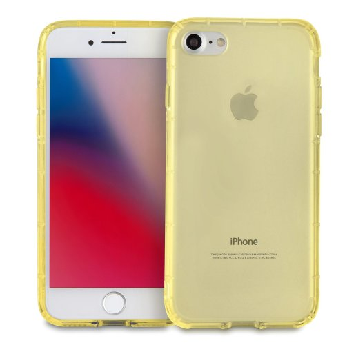 MyGadget Soft Silicone TPU Clear Case for Apple iPhone 7/8 - Shockproof Air Cushion Bumper - Protective Anti Scratch Back Cover in Transparent Yellow