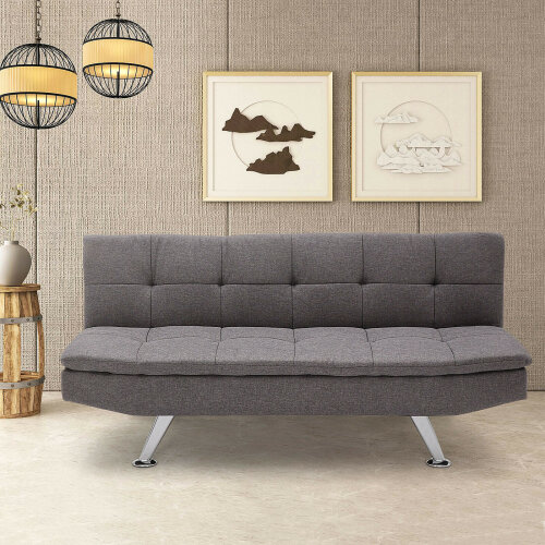 (Gray Flax) Fabric Sofa Bed 3 Seater Padded Sofabed Cube