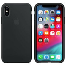 Genuine Apple Silicone Cover Back Case for Apple iPhone X/XS (MRW72ZM/A) - Black