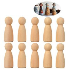 """20 Pieces 65 mm (2.55"""") Unfinished People Wood Doll Bodies Angel Doll Body Peg, Wooden Doll People for Kids Art and Creative DIY Craft (20-Women)"""