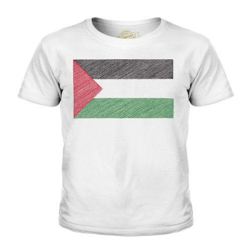 (White, 11-12 Years) Candymix - Palestine Scribble Flag - Unisex Kid's T-Shirt