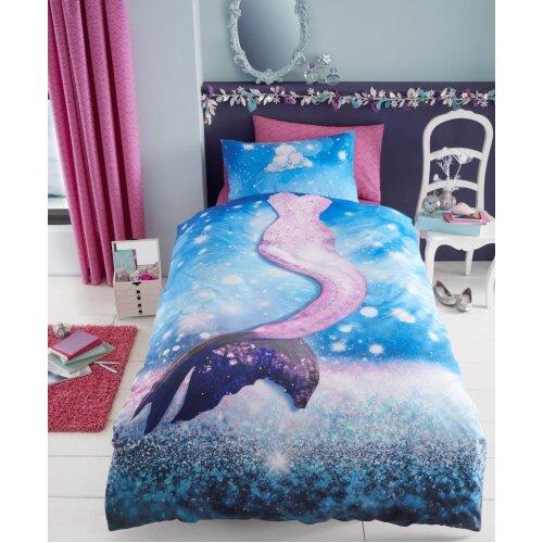 Kids Disney Mermaid Single Pink Duvet Cover with Pillow Case for Girls