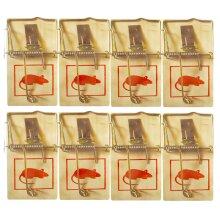 8pk Wooden Mouse Traps   Durable Reusable Snap Traps