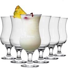 6pc Rink Drink Large Pina Colada Glasses Set – 460ml | Hurricane Cocktail Glasses