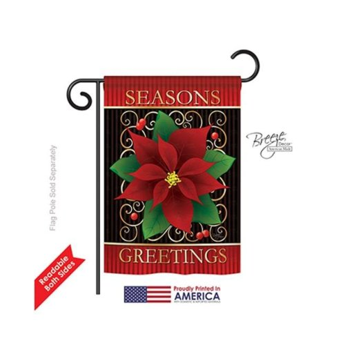 Breeze Decor 64082 Christmas Seasons Greeting Poinsettia 2-Sided Impression Garden Flag - 13 x 18.5 in.