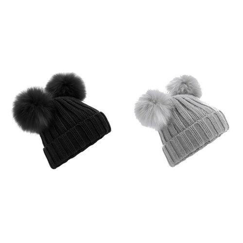 Beechfield Womens/Ladies Faux Fur Double Pop Pom Beanie