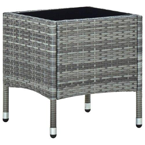 vidaXL Garden Table Grey 40x40x45 cm Poly Rattan Outdoor Furniture Side Table