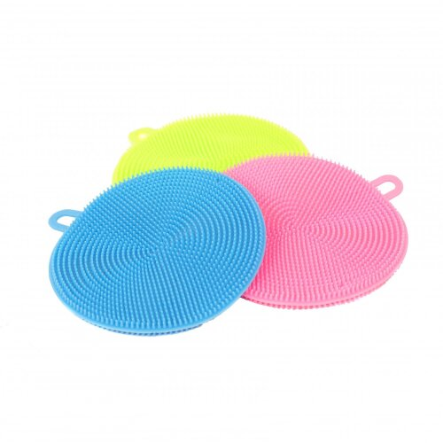 Oypla Set of 3 Silicone Scrubber Brush Dish Wash Cleaning Sponge Pads